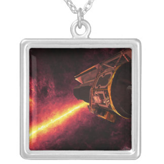 Spitzer seen against the infrared sky square pendant necklace