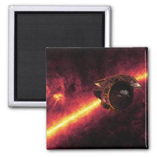 Spitzer visto contra el cielo infrarrojo 2 imán cuadrado