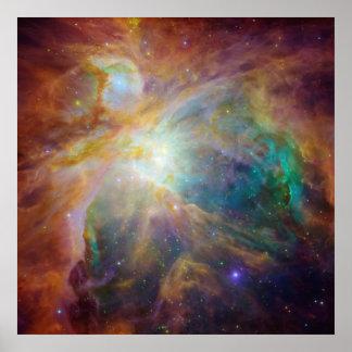 Spitzer y Hubble crean obra maestra colorida Póster