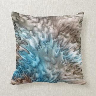 'Splash 2' Aqua Taupe Silk Abstract Throw Pillow