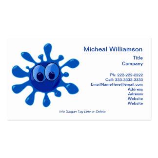 Splash Bug Funny Blue Cartoon Water Splat Custom Business Card