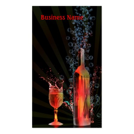 Fun Glass and Bottle Splashes and Bubbles Bar Tender Business Cards