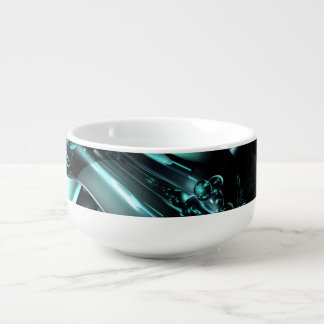 Splash Down Abstract Soup Bowl With Handle
