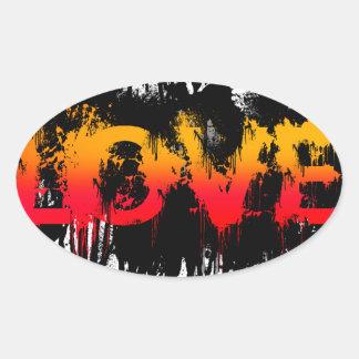 Splash Love Text Oval Stickers
