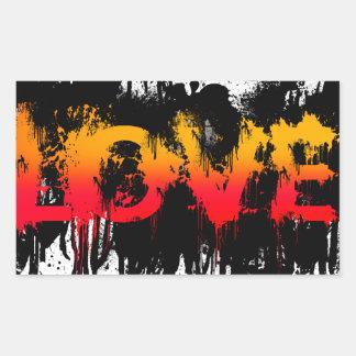Splash Love Text Rectangular Sticker