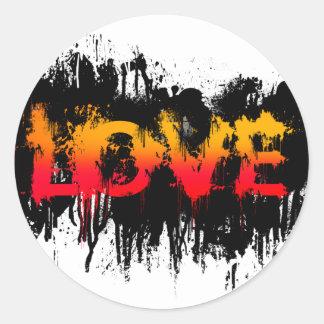 Splash Love Text Round Stickers