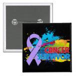 Splash of Color - Cancer Survivor Button
