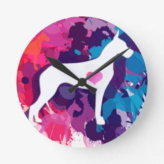 Splash of Color-ful Danes Round Clock
