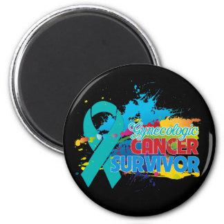Splash of Color - Gynecologic Cancer Survivor 2 Inch Round Magnet