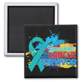 Splash of Color - Gynecologic Cancer Survivor 2 Inch Square Magnet