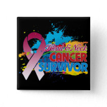 Splash of Color - Head and Neck Cancer Survivor Pinback Button