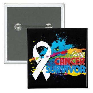 Splash of Color - Lung Cancer Survivor Button