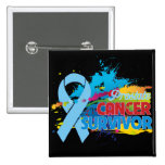 Splash of Color - Prostate Cancer Survivor 2 Inch Square Button