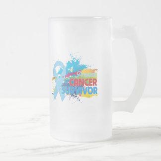 Splash of Color - Prostate Cancer Survivor 16 Oz Frosted Glass Beer Mug