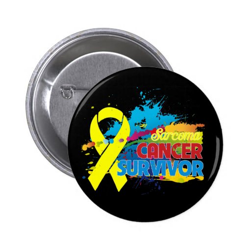 Splash of Color - Sarcoma Survivor Pinback Buttons