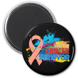 Splash of Color - Uterine Cancer Survivor 2 Inch Round Magnet