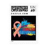 Splash of Color - Uterine Cancer Survivor Postage Stamps