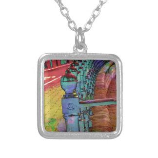 Splash of colour. square pendant necklace