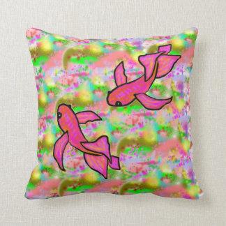 Splash of Pink Koi Pillow