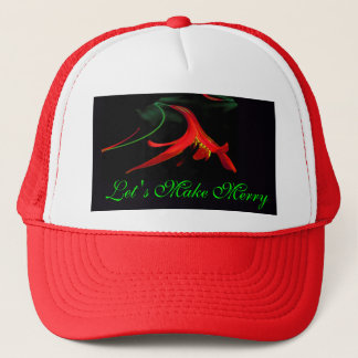 Splash of Red Lily Floral Merry Xmas Holiday Trucker Hat