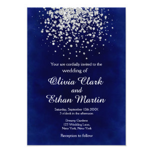 Royal Blue And Silver Wedding Invitations Zazzle