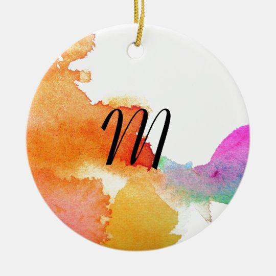 Splash of Watercolor Ceramic Ornament