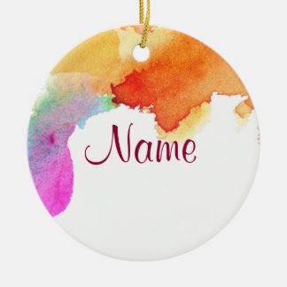 Splash of Watercolor Double-Sided Ceramic Round Christmas Ornament