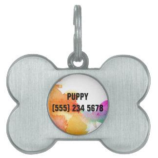 Splash of Watercolor Pet Name Tag