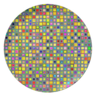 Splash Of Yellow Multicolored 'Clay' Tile Pattern Dinner Plate