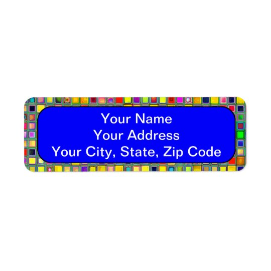Splash Of Yellow Multicolored 'Clay' Tile Pattern Label