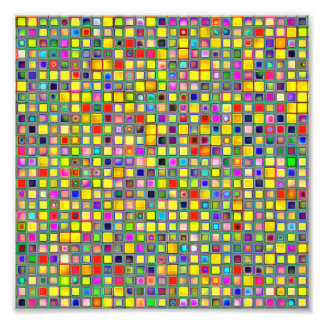 Splash Of Yellow Multicolored 'Clay' Tile Pattern Photo Print
