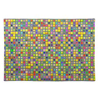 Splash Of Yellow Multicolored 'Clay' Tile Pattern Place Mats