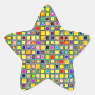 Splash Of Yellow Multicolored 'Clay' Tile Pattern Star Sticker