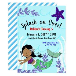Splash on over Mermaid Birthday Invitation