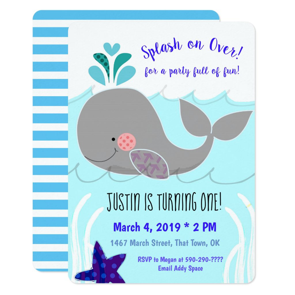 Splash on over Whale First Birthday Invitation