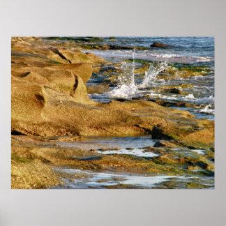 Splash on the Rocky Beach Poster