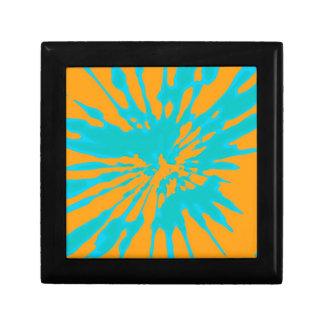 Splash Orange Light Blue Design Trinket Box
