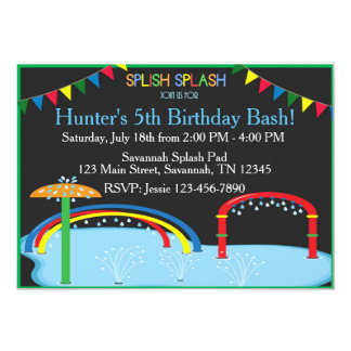 Splash Pad Birthday Inviation Card