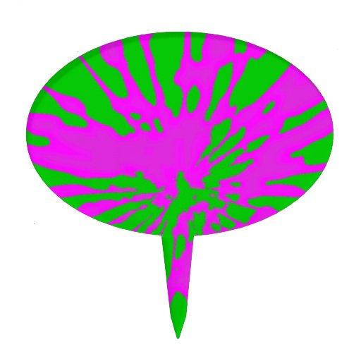 Splash Pattern Green Pink Abstract Cake Pick