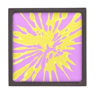 Splash Pattern Yellow and Pink Abstract Design Premium Trinket Boxes