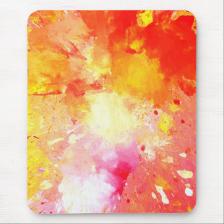 'Splash' Pink and Orange Abstract Art Mousepad
