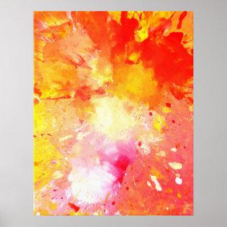 'Splash' Pink and Orange Abstract Art Poster Print