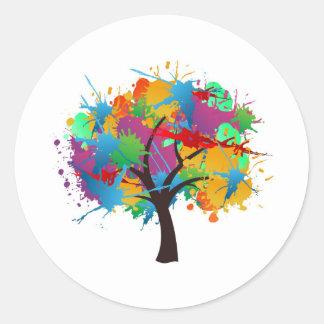 splash to summer Time tree Classic Round Sticker