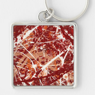 SPLASHDOWN!(an abstract art design) ~ Silver-Colored Square Keychain