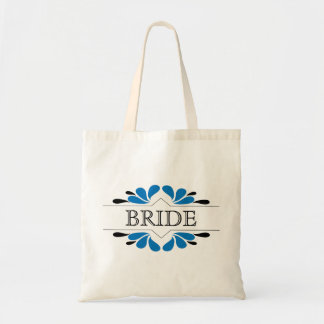 Splashes of Blue and Black BRIDE Tote Bag