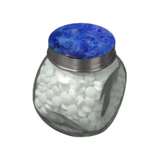 splashes of color, blue glass candy jars