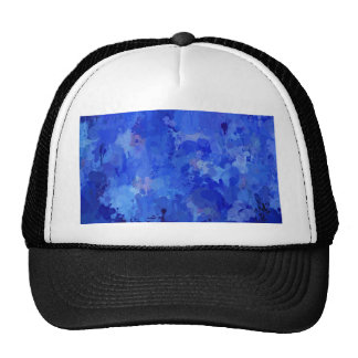 splashes of color, blue trucker hat