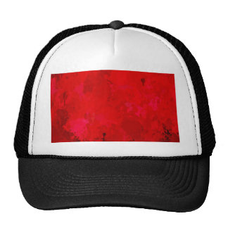 splashes of color, deep red trucker hat