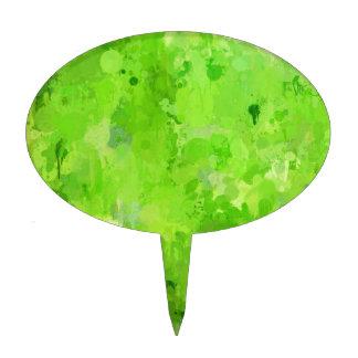 splashes of color, green cake topper