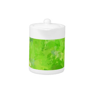 splashes of color, green teapot
